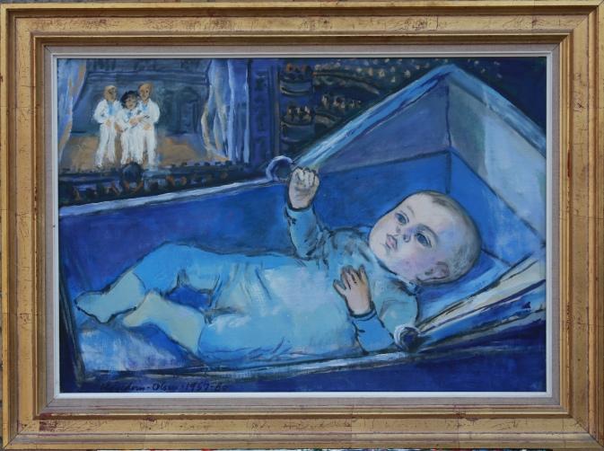 Thomas Eje malt af morfar Th. Hagedorn-Olsen som baby i 1957 og som Linie 3 i 1980